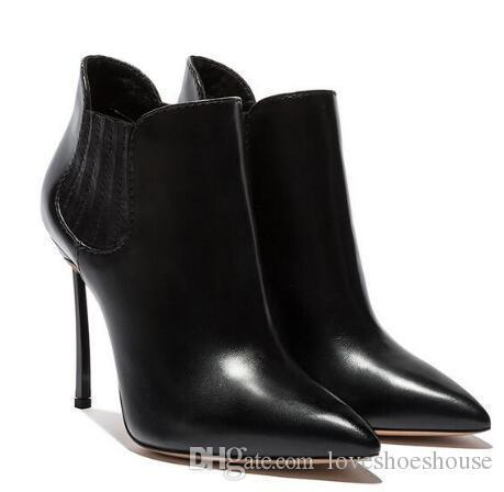 Charm2019 Decent Arrivals Black Leather Women Ankle Boots Pointed Toe Blade Heels Short Bootie Slip-on Metal High Heeled Ridding Boot