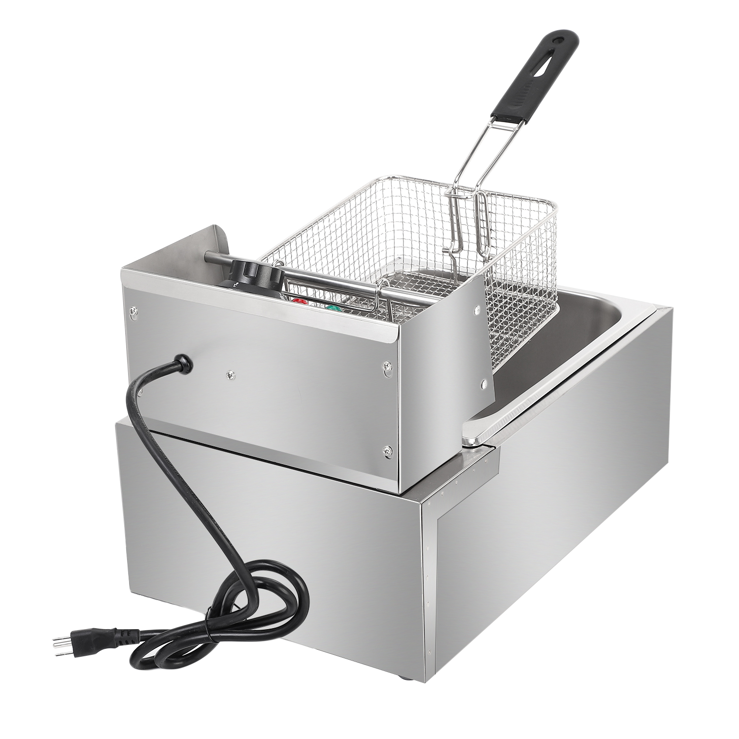EH81 2500W MAX 110V 6.3QT/6L Stainless Steel Single Cylinder Electric Fryer French fries machine US Plug