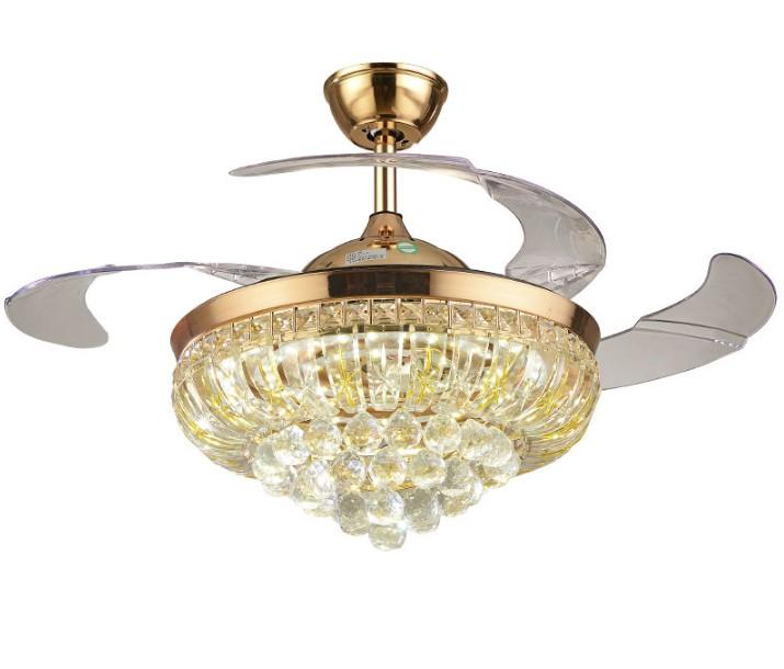 """Modern 36/"""" Crystal Invisible Ceiling Fan Light Restaurant Fan Chandelier Lamp"""