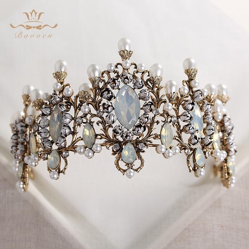 Bavoen Top Quality Elegant Retro Baroque Brides Hairbands Crown Nature Pearls Wedding Tiara Headpieces Prom Hair Accessories J 190430