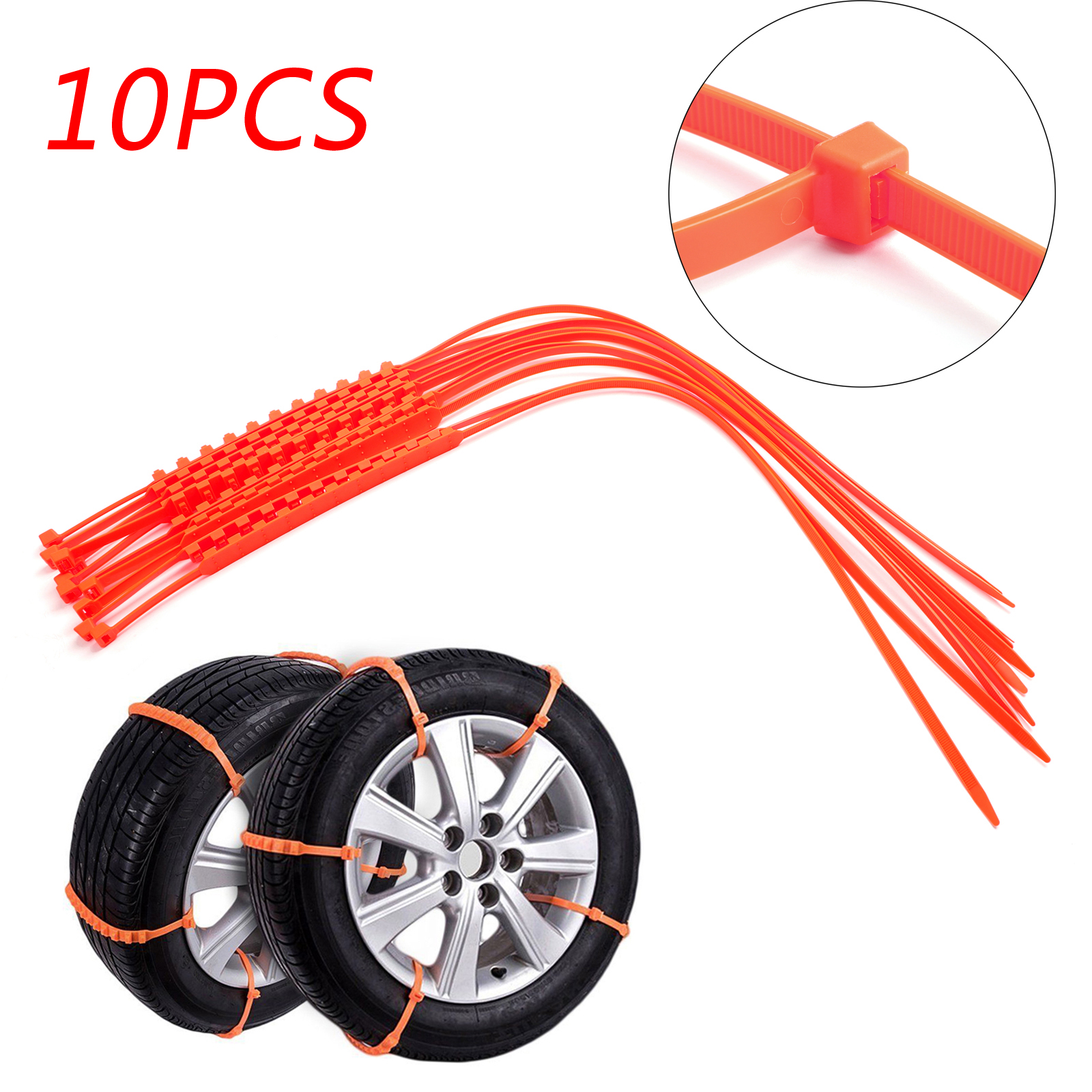 10pcs Wheel zip tie Emergency Tire Traction Aid for Snow mud Car Van Truck Chain