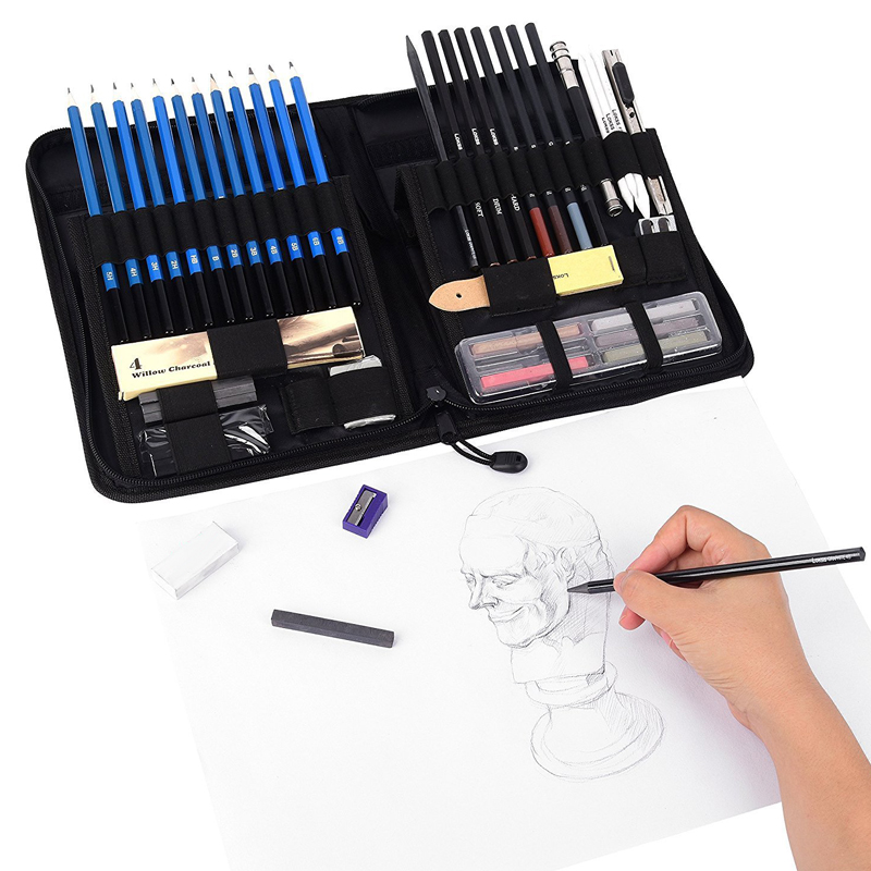 48pcs//set Profesional Kits Lápices Dibujo Boceto Bolsa Sketching Drawing Pencils