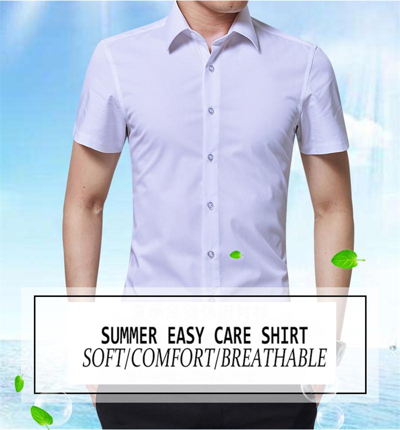 BROWON Brand New Formal Shirt Men Short Sleeve Shirt Turn Down Color Slim Fit Casual Shirt Plus Size M-5XL Camisa Masculina01