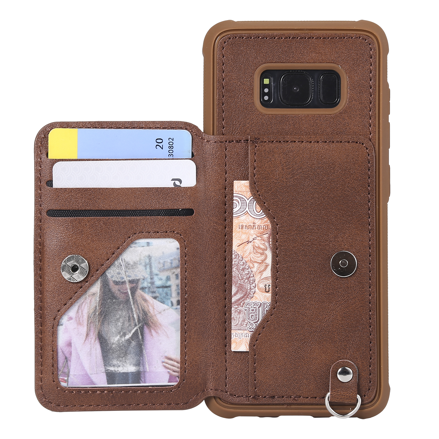 Embossed Flower Flip Leather for Samsung S8 Phone Case Wallet Case with Detachable Lanyard for Samsung S7 S9 Note 8 Coque Fundas