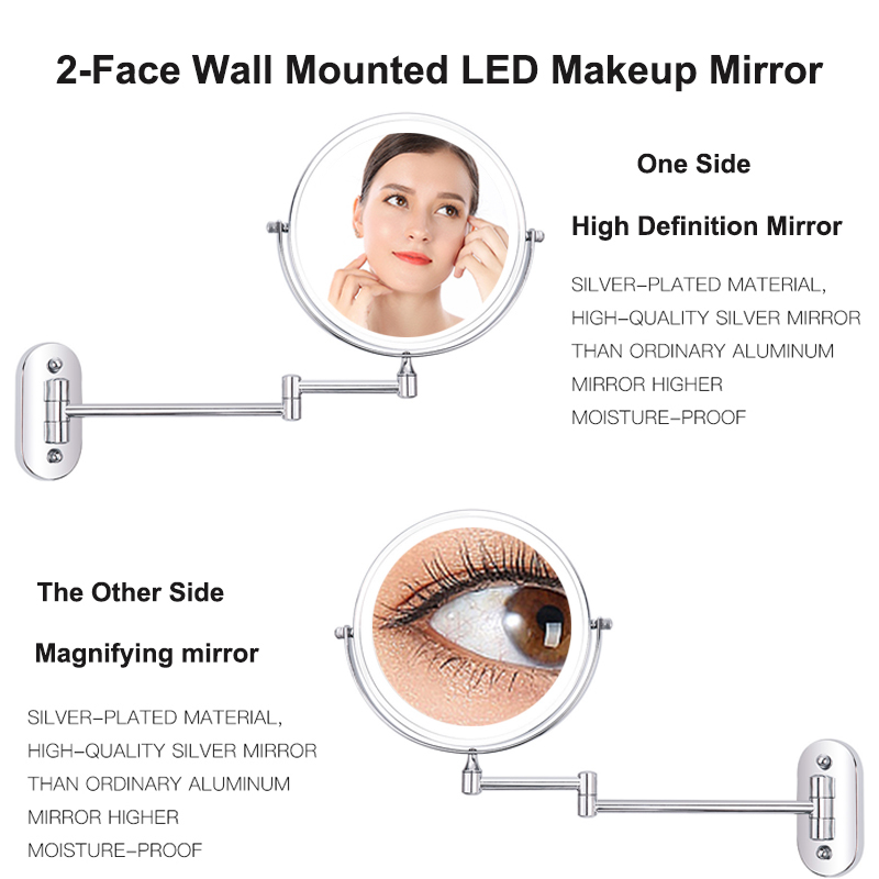 8 inch Wall Mounted Led Makeup Mirror 10X Magnifying Touch Bright Adjustable Bathroom Wall Mirrors Double Sided Vanity Mirror 5