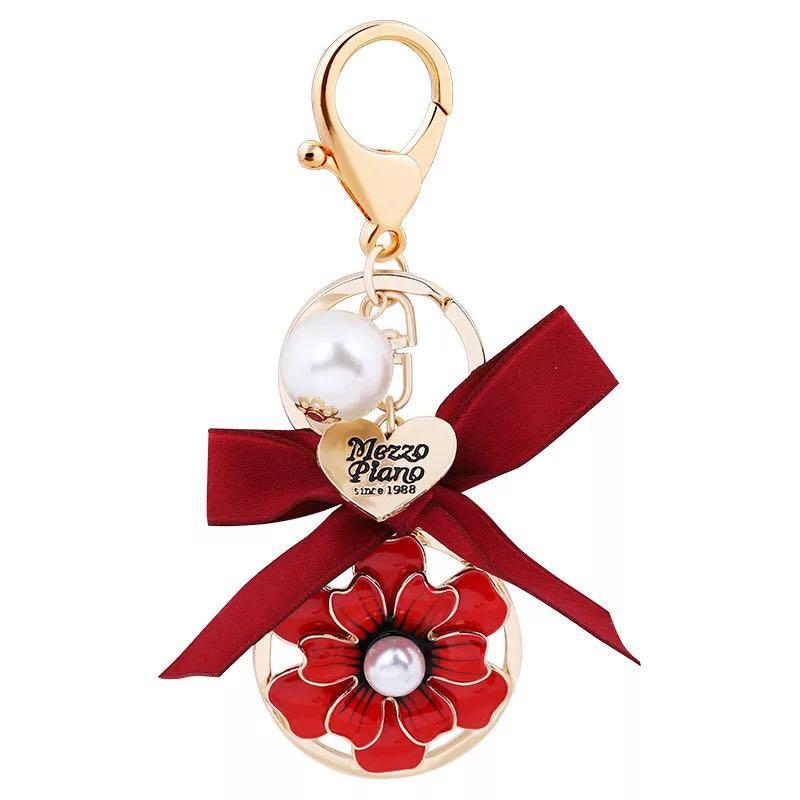 PU Cuir Fleur Keychain avec pompons Sac Porte-clés voiture Bijoux G