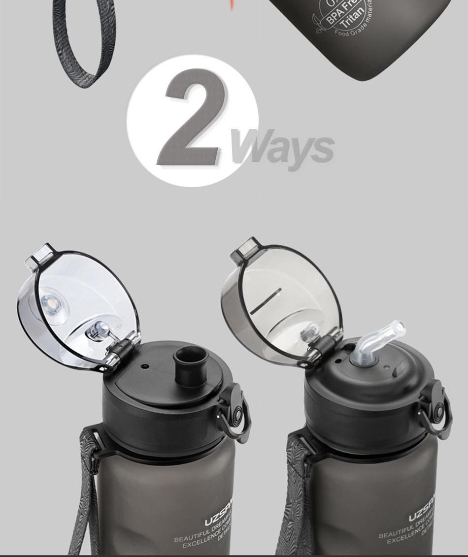 UZSPACE 0%BPA Plastic Sports Water Bottles Portable Travel Outdoor Cycling Drink Fruit protein Shaker My tea bottle 500ml 950ml_03