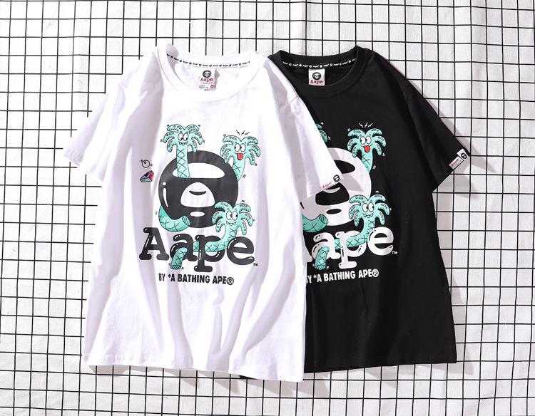 Men/'s Bape cartoon Monkey Head Pattern Round Neck Bathing Ape T-Shirt  Luminous