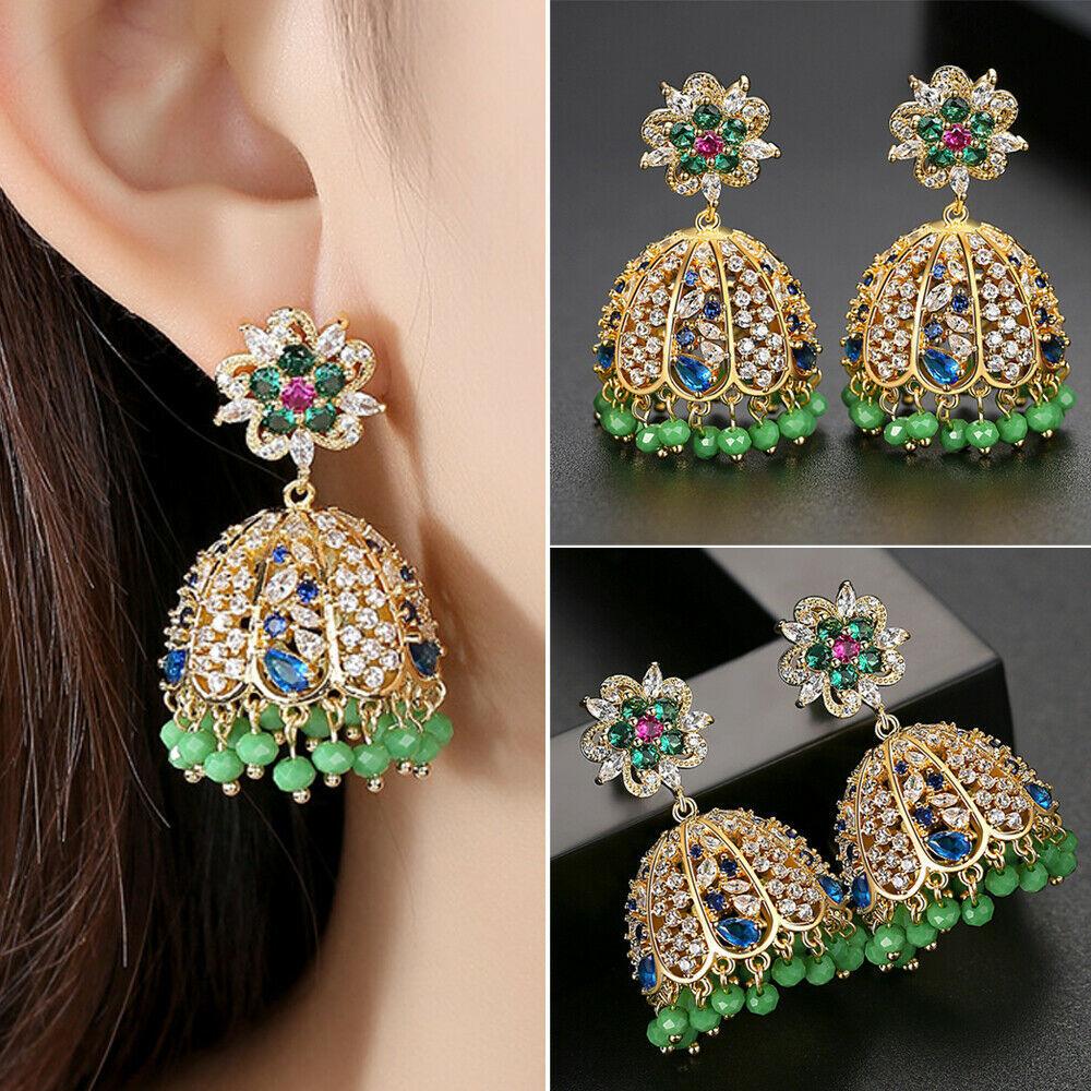 Women Brass Ornate Gypsy Tribal Ethnic Mandala Earrings Drop Dangle Earring YW