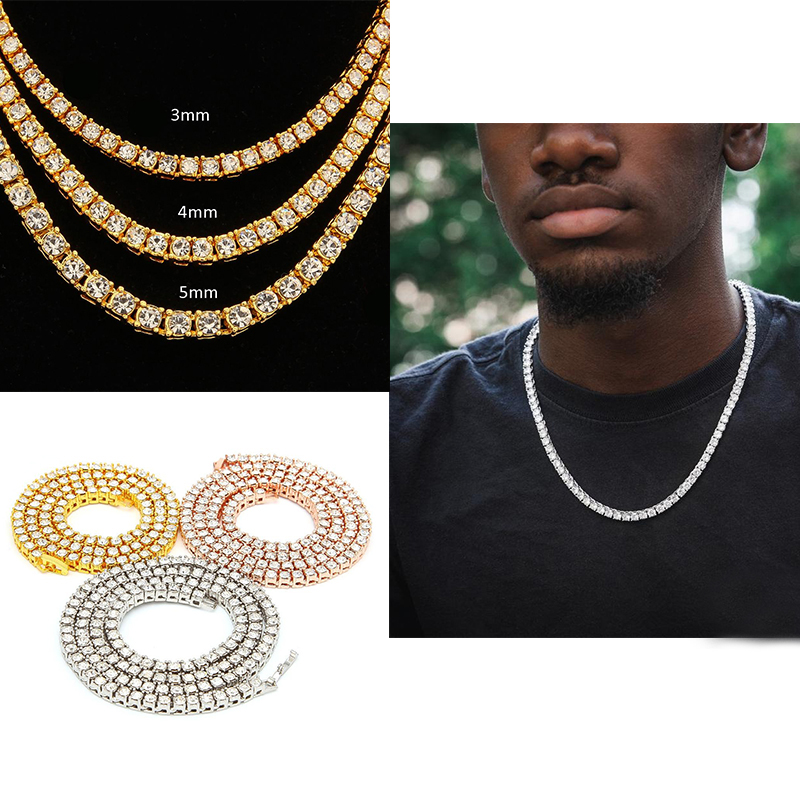 Mens Hip Hop Bling Chains Jewelry Sterling Silver 1 Row Diamond Iced Out Tennis Chain Necklace Fashion 24 inch Gold Silver Chain Necklaces