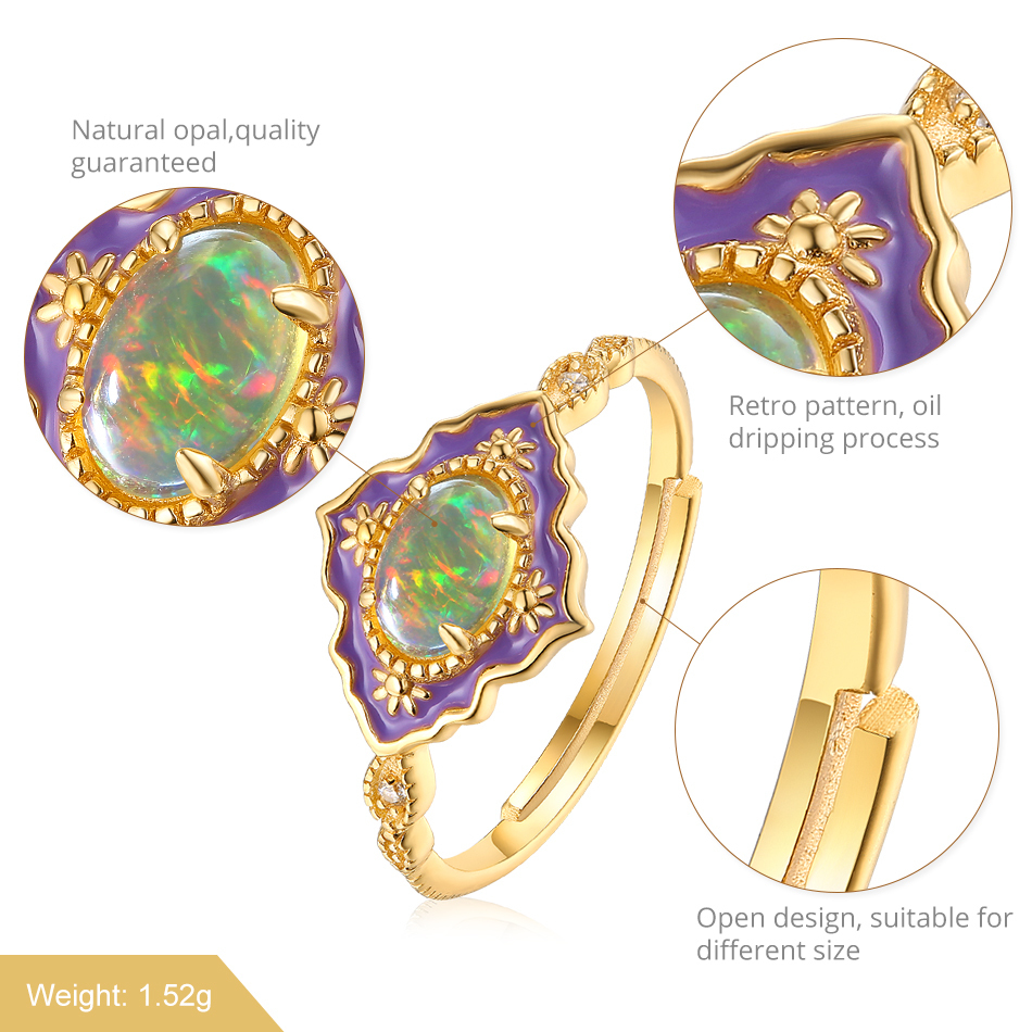 ALLNOEL 925 Sterling Silver Gemstone Rings For Women Vintage Real Natural Fire Opal Enamel Rainbow Ring Wedding Fine Jewelry (4)