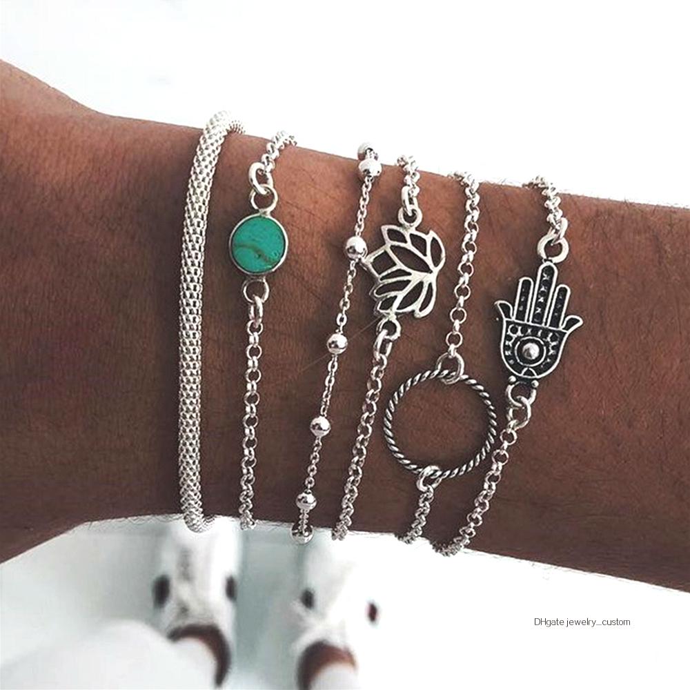 6-unids-set-bohemio-Vintage-de-Color-plata-hueco-flores-de-loto-gema-pulsera-de-las