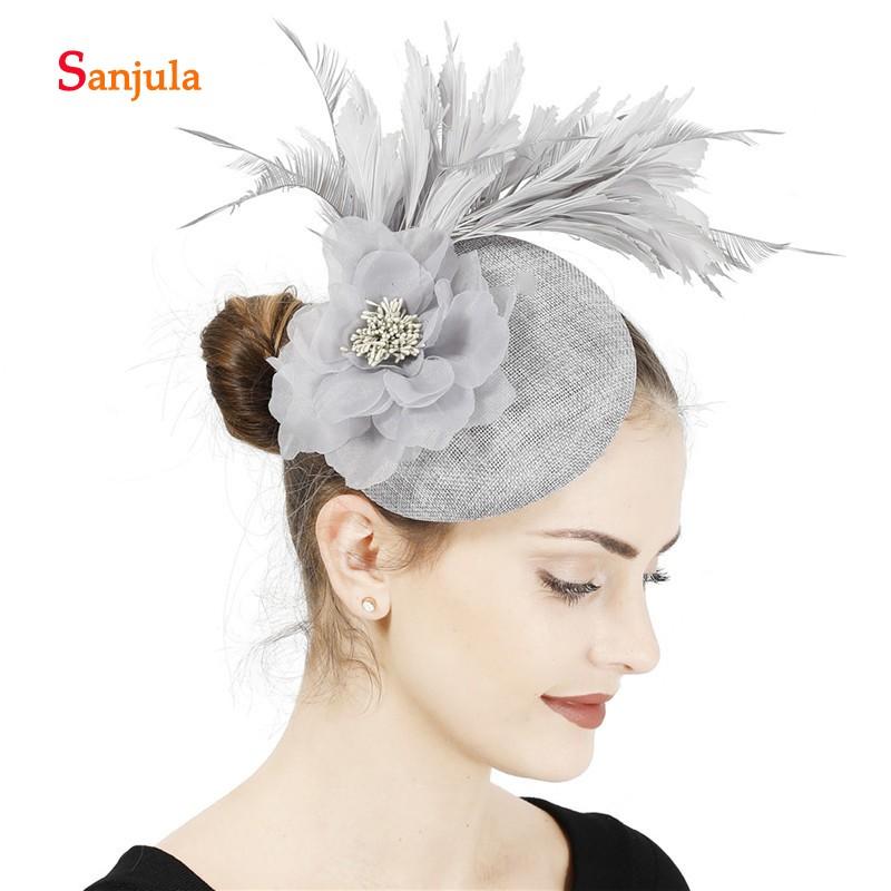 Fascinator Hats for Women Flower Linen Headwear Ladies Kentucky Derby Party Hair Accessories Cocktail Hat Ivory
