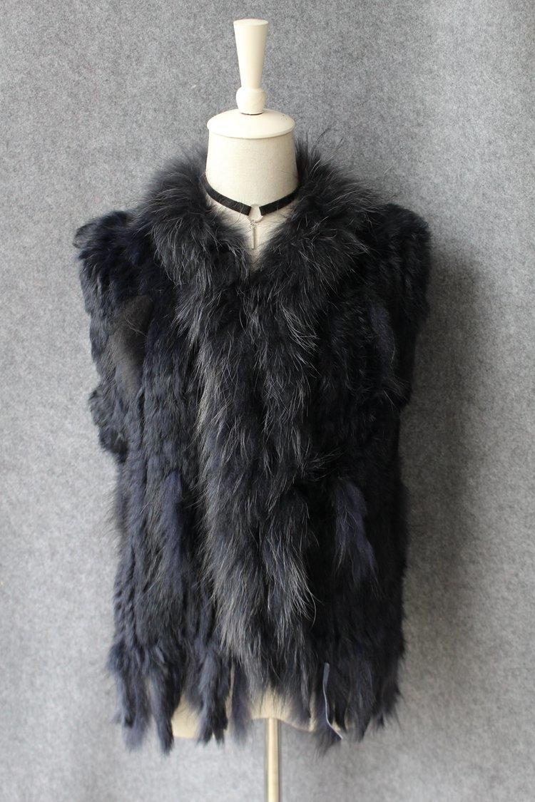 genuine real rabbit fur vest with raccoon fur collar (32)