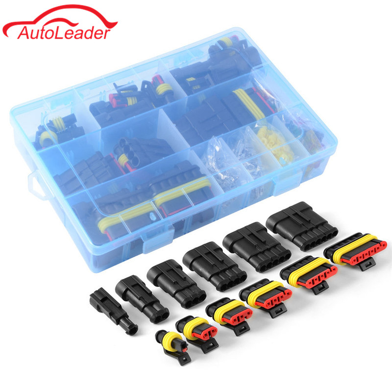 farbe: Black /& Red 5 teile//satz 2 Pin Way Auto Auto Wasserdichte Elektrische M/ännlich Weiblich Stecker mit Draht AWG Marine Zubeh/ör