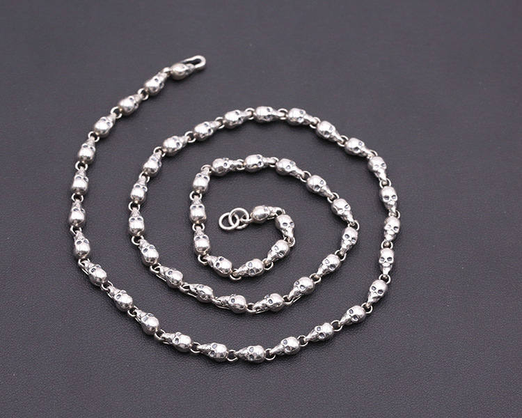 4.5mm 925 Sterling Silver Retro men/'s skull link biker necklace chain   S1486