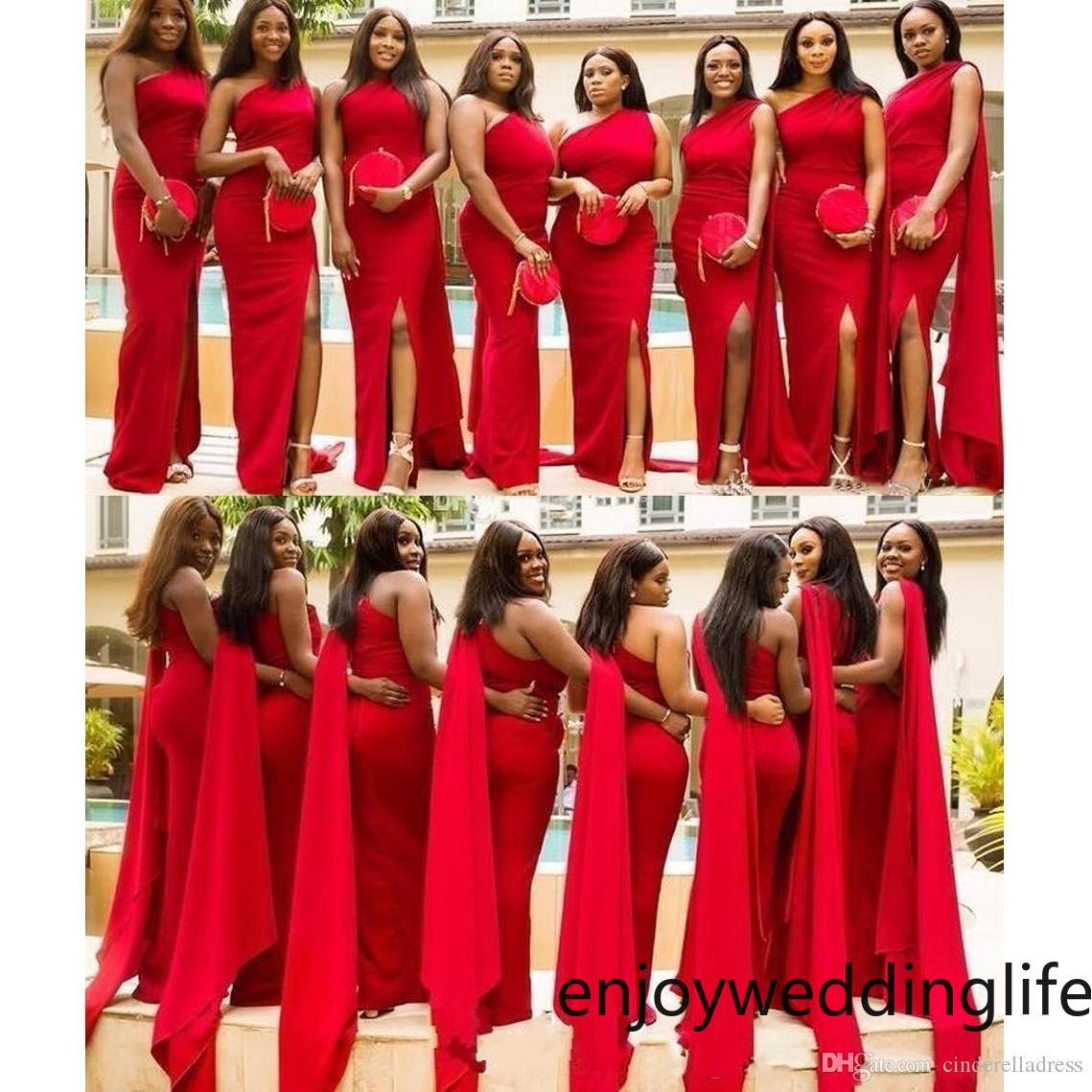 arabisch red mermaid brautjungfernkleider eleganter schulter-side split  plus size wedding guest kleid african maid of honor kleider