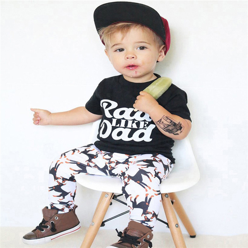 2Pcs Summer Boys Sets Toddler Baby Kids Boy Short Sleeve Letter Print Tops T-Shirt+Dog Print Pants Set Clothes M8Y06 (3)