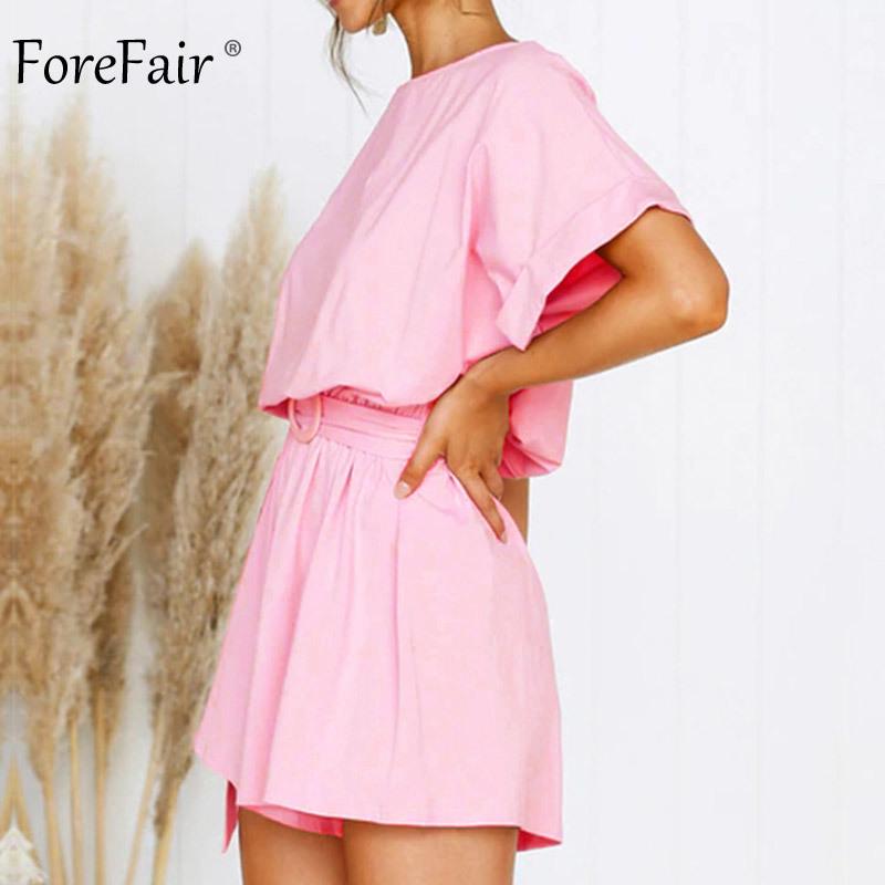 Forefair Linen Shorts Jumpsuit Summer Wide Leg (7)