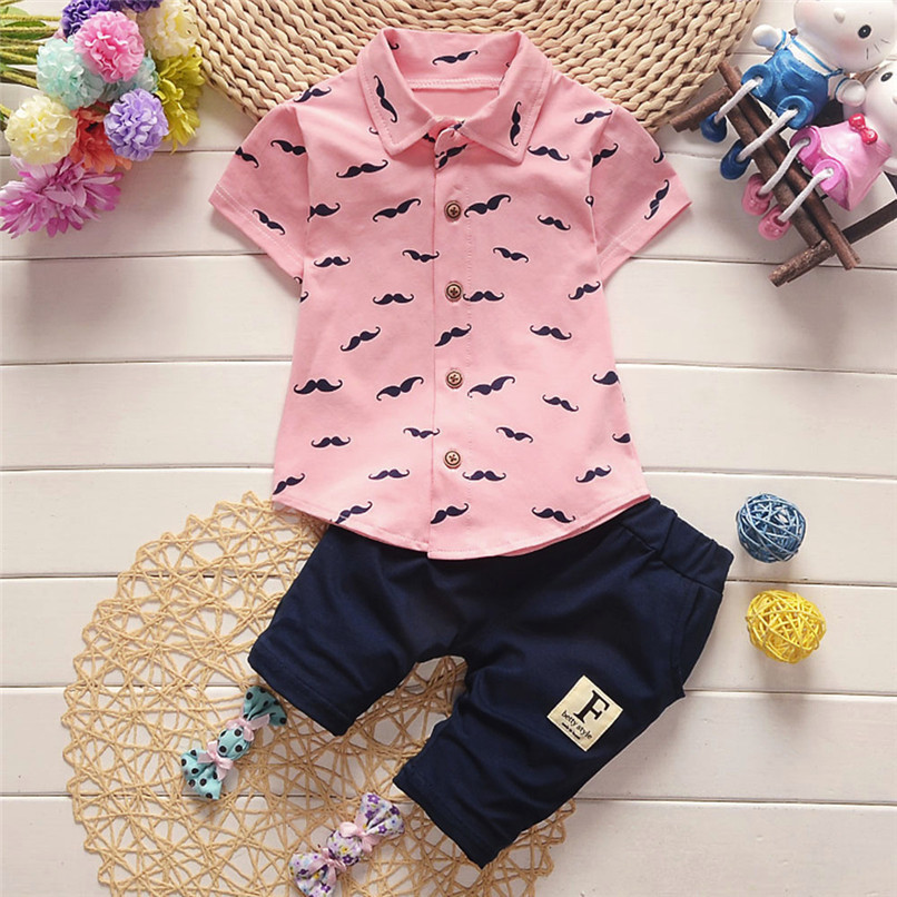 2PCS Baby Clothes Toddler Kids Baby Boys Short Sleeve Beard Print T-Shirt Tops+Letter Shorts Pants Set Boy Sets Clothes M8Y30#F (5)