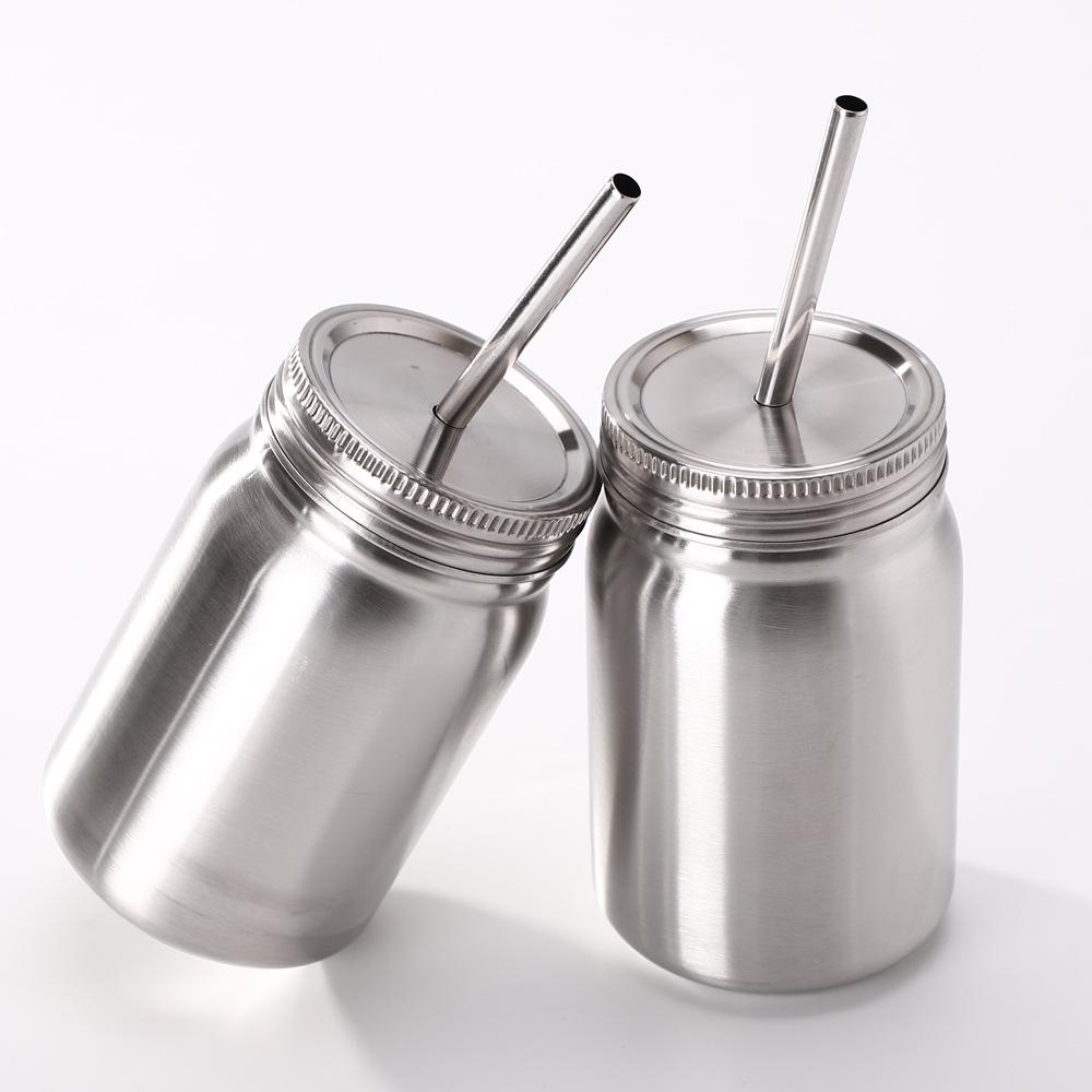 500 ml en acier inoxydable en forme de losange vide Tasse à café jus Tasse avec couvercle Paille