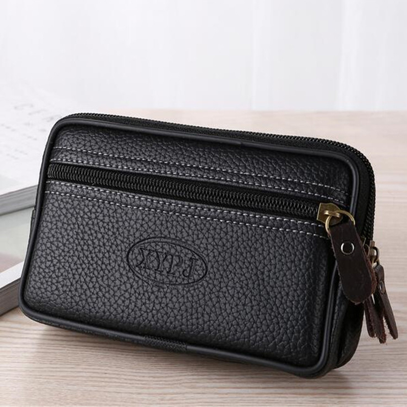 Mobile Phone Waist Pack For Men Testificate Bag Leather Coin Purse Strap Pocket Cellphone Bag Clutch Bag Belt Waist Pouch