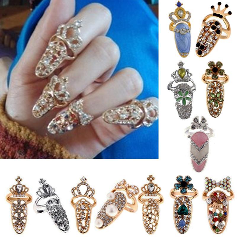 Damen Pretty Bowknot Nail Ring Charm Crown Flower Crystal Finger Nagel Ringe WQ