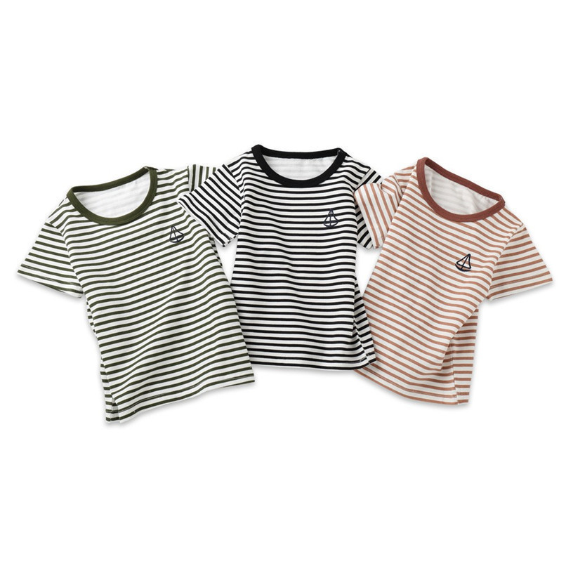 Summer Baby Boy Girl Tops And Tees Children Kids Boy Girl Short Sleeve Striped Top T-shirt Clothes Baby Boy Girl Clothes JE13#F (1)