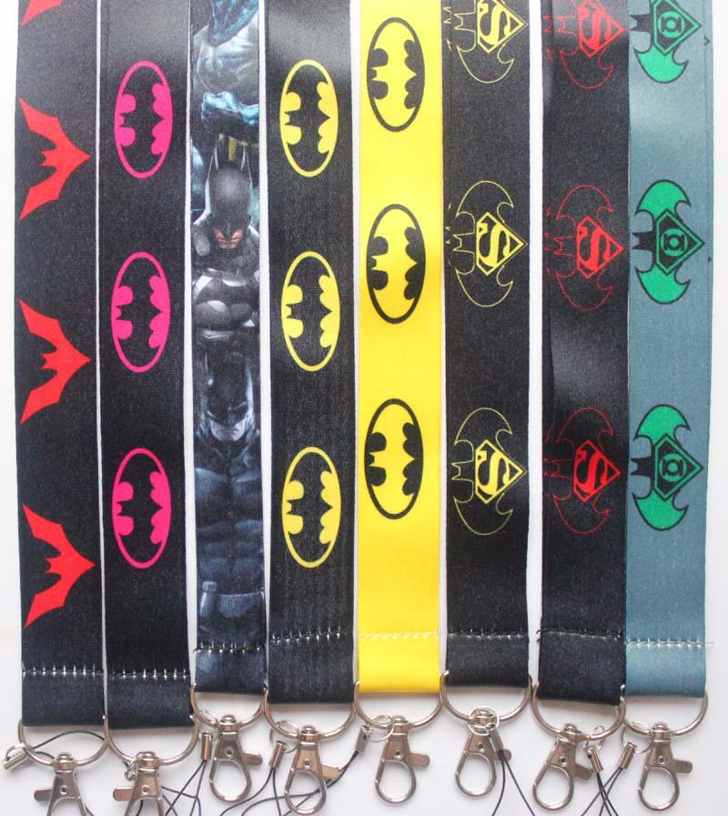 10pcs batman superman mix Lanyard Mobile Phone ID Card KeyChain Holder