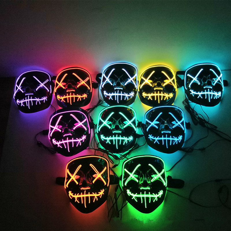 Halloween Decoration LED Light Mask for Neon Party Cosplay Horror V Mask for Vendetta Halloween Party Decoration Accessories