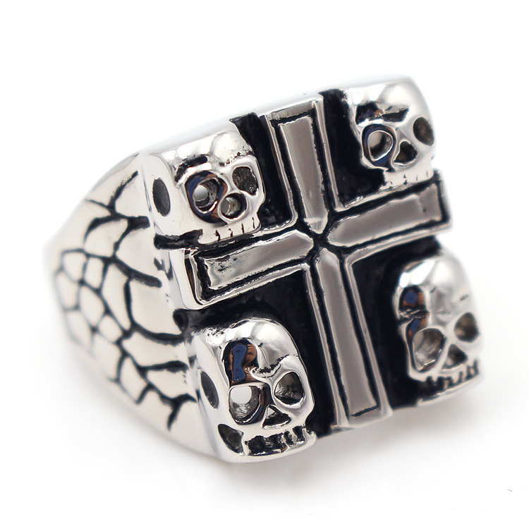 Titanium steel Cross Ghost Head Charms Mens Jewelry Rings Designer Love Brand Men Ring Charm Fashion Designer Jewelry Men Rings