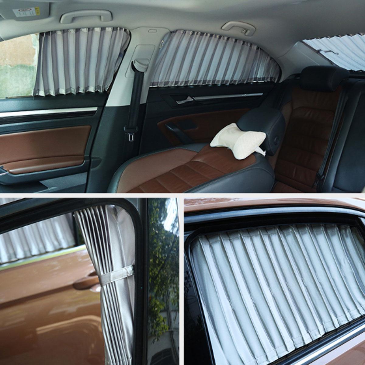 70cm Long Universal Retractable Car Vehicle Curtains Window Roller Sun Shades Blind ProtectorsGrey