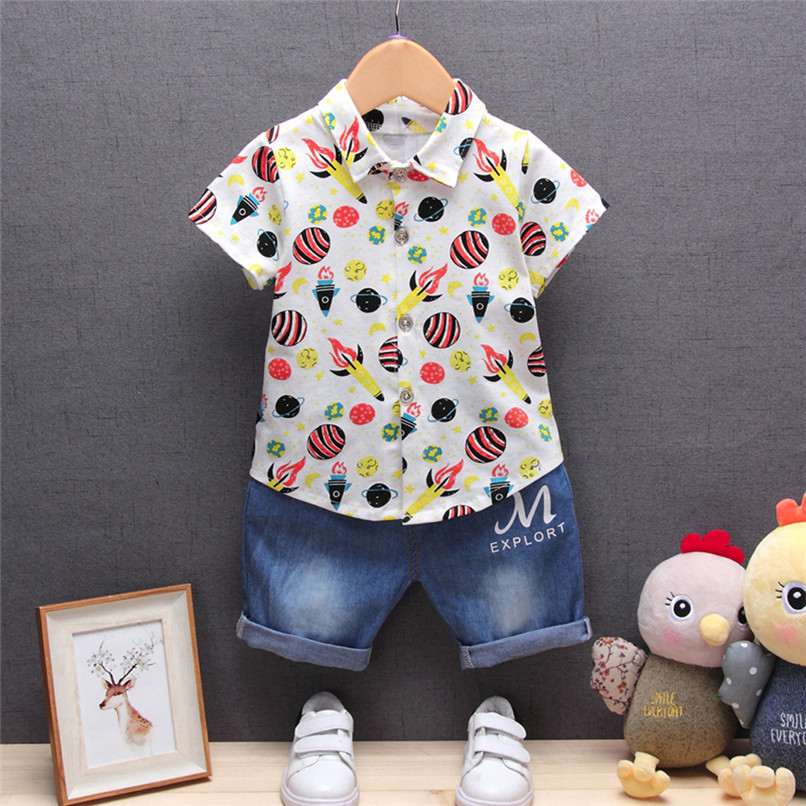 2PCS Baby Boys Sets Newborn Infant Baby Boys Short Sleeve Rocket Print T-shirt Tops+Denim Pants Sets Baby Boys Clothes M8Y16 (1)