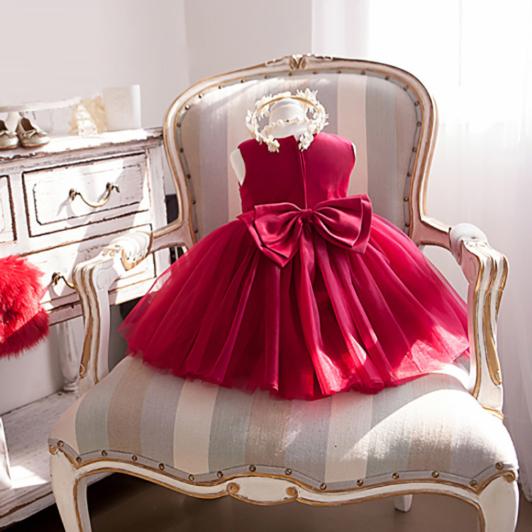 Mother Daughter Dresses Christmas Matching Dresses Wedding Princess Mom And Me Clothes Wedding Party Red Eveing Dress Y19051103