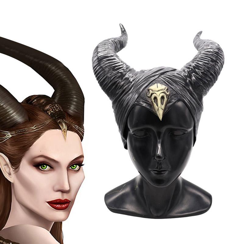 Halloween Maléfique coiffe reine noire Costume Cornes Cosplay Chapeau Coiffure