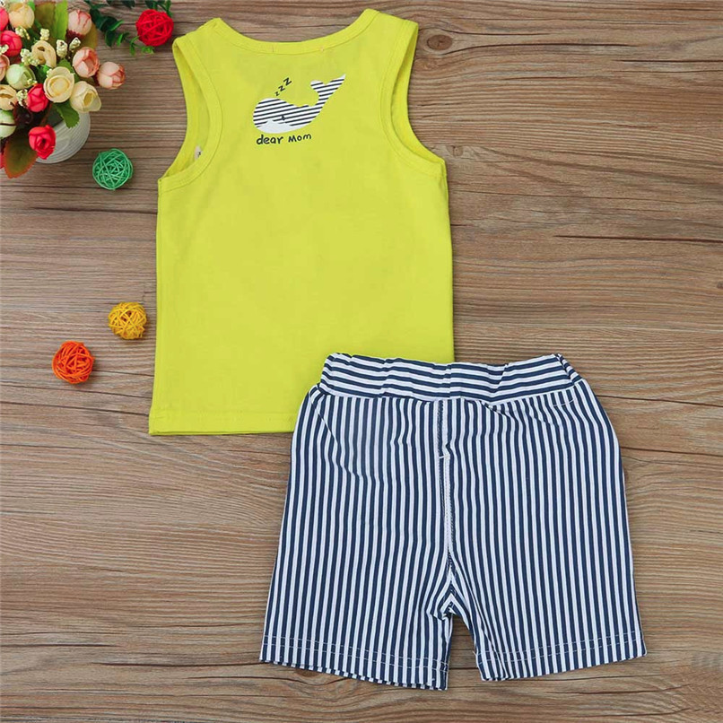 2PCS Baby Sets Newborn Baby Boys Girls Sleeveless Cartoon Whale Print Top+Striped Shorts Sets Clothes Suit For 6-24M M8Y07 (3)