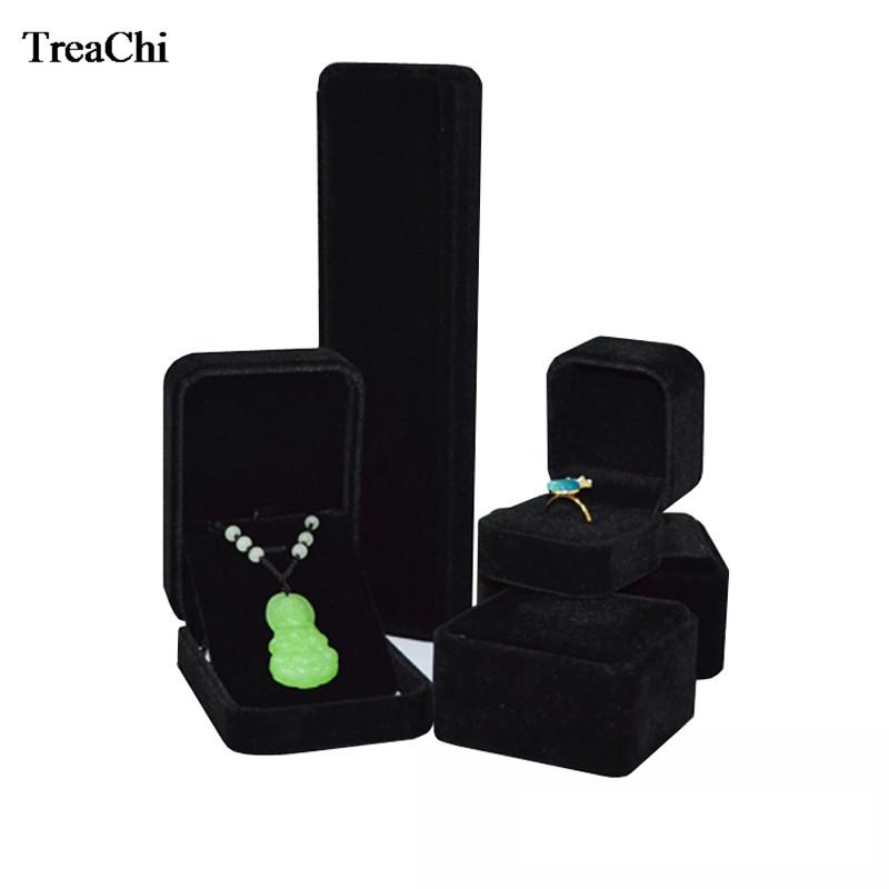 Caso di imballaggio dei monili di velluto di promozione Velluto nero Anello Bracciale orecchino Collana ciondolo catena Jade Storage Organizer Set Box