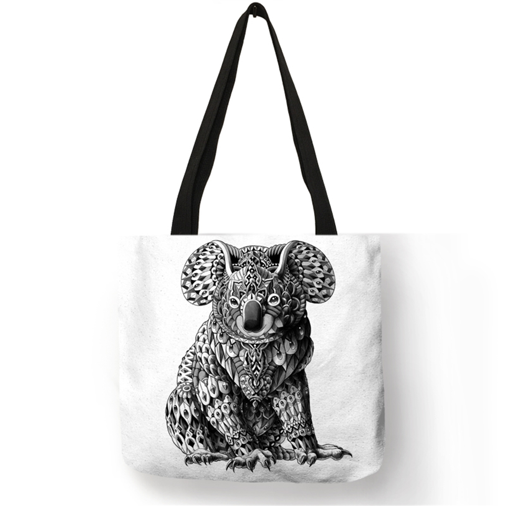 Eco Linen Bag With Tattoo Animal Print Logo Casual Tote Bags For Women Lady Reusable Shopping Bags Folding