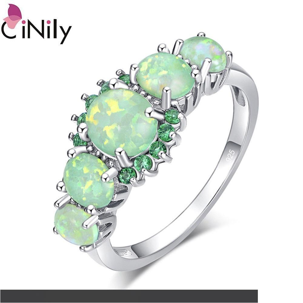 T/&T ring Fashion Multicolor Green fire Opal Rings For Women Wedding Ring Engagement Bridal Rings