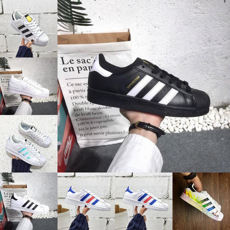 Adidas Nouvelle arrivée superstar casual chaussures hommes femmes plate forme noir blanc superstars d'or plat super star designer mens formateurs
