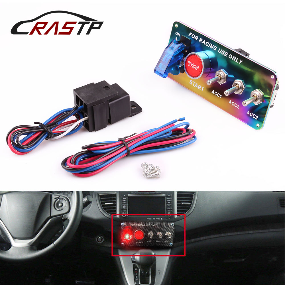 X917 Racing LED Toggle Ignition Switch Panel Engine Start Push Button Starter