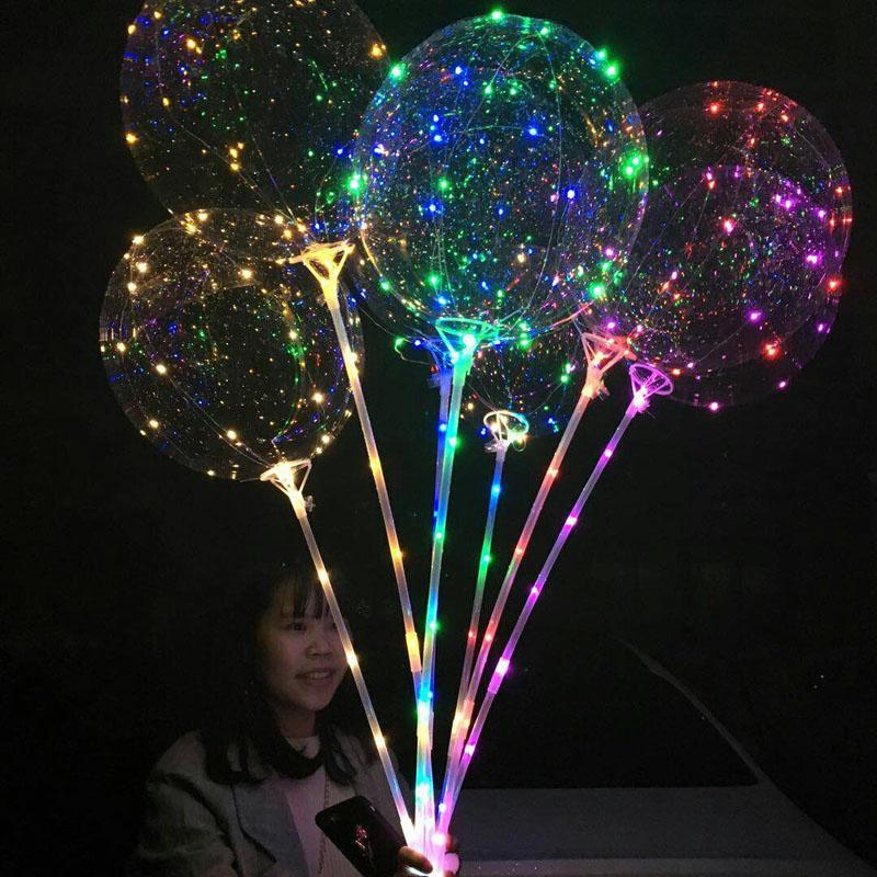 LED Bobo Balloon With 31.5inch Stick 3M String Balloon LED Light Christmas Halloween Birthday Balloons Party Decor Bobo Balloons BH1346 TQQ