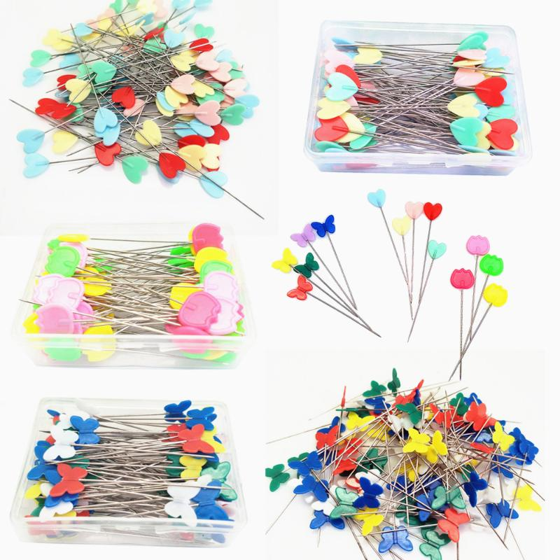 Assorted Colors Mixed 100 Pieces Color Leaves Head Pins Boxed for Sewing DIY Projects