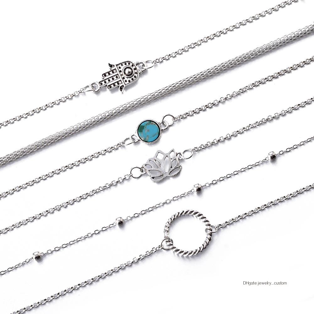 6-unids-set-bohemio-Vintage-de-Color-plata-hueco-flores-de-loto-gema-pulsera-de-las (2)