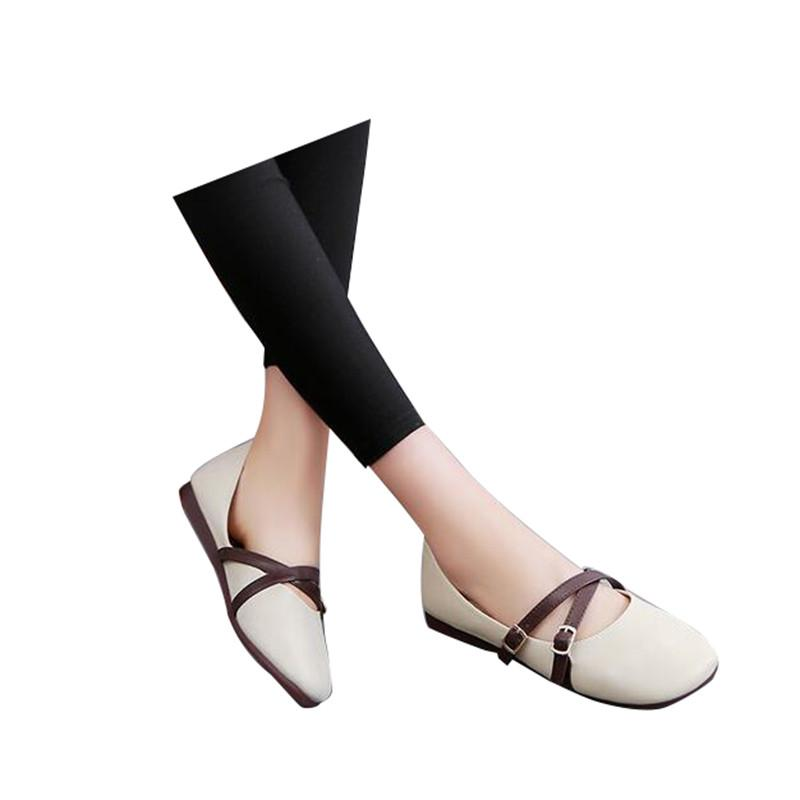 Hot Sale-HEE GRAND 2018 Autumn Buckle Flats Women Soft Sole Shoes PU Leather Ladies Casual Daily Woman Flats XWD5902
