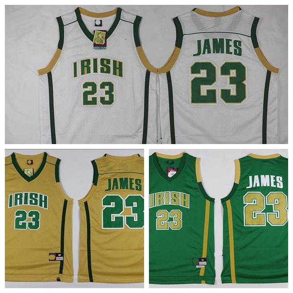 Custom Mens Lebron #23 High School Basketball Jersey E21 White