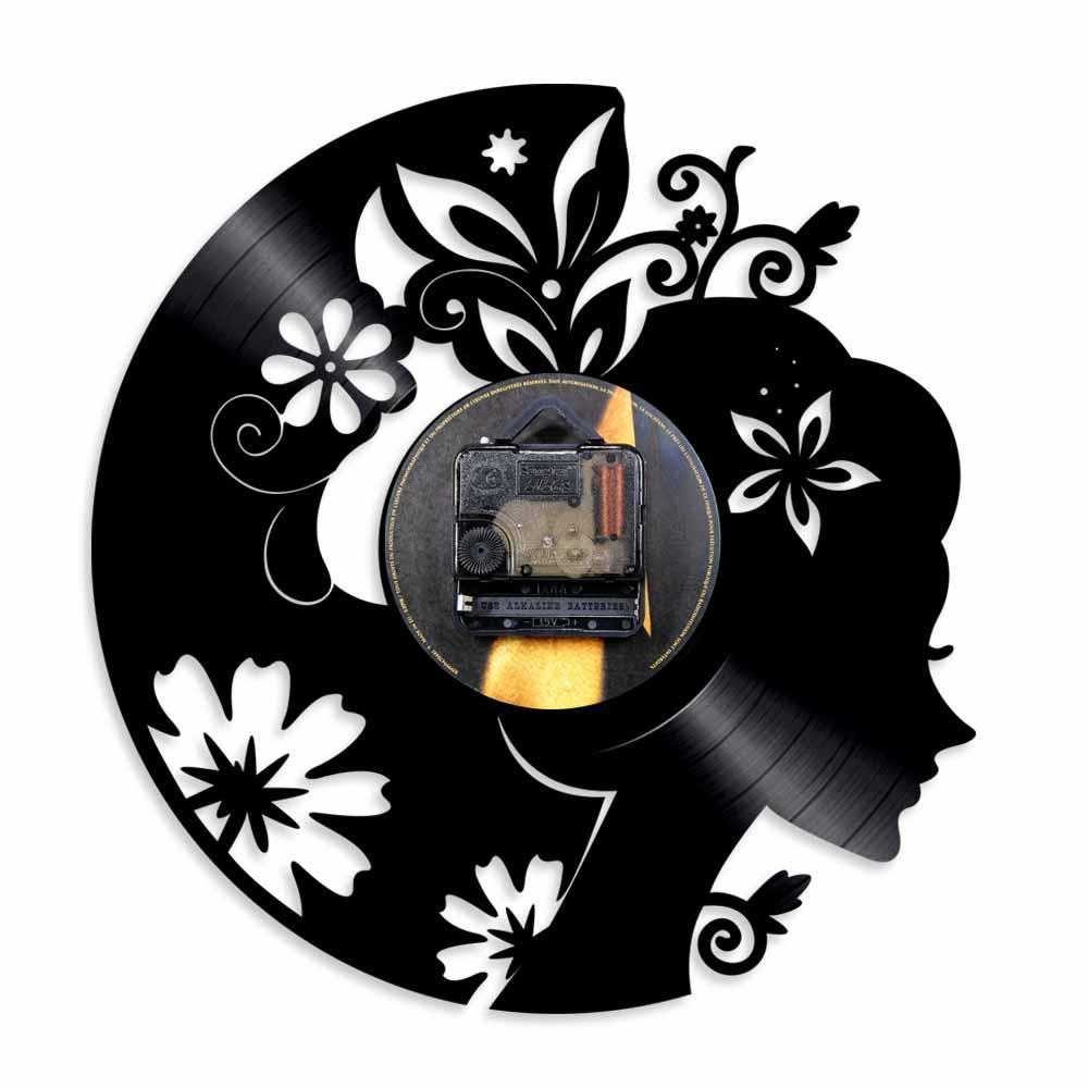 2019 Stück Schöne Dame Und Blumen Vinyl Record Wanduhr Mit LED-Beleuchtung Floral Hair Fashion Girl Home Decor Wandkunst