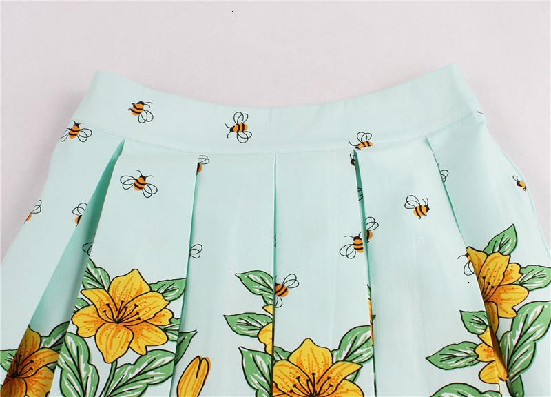 Kostlish Retro Print Flower Summer Skirts Womens High Waist Vintage Skirt Elegant A-Line Midi Women Skirt Plus Size XXL 22 (13)