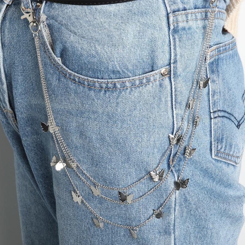 Hot Feather Vintage Waist Pants Chain Punk Rock Wallet Key Chain