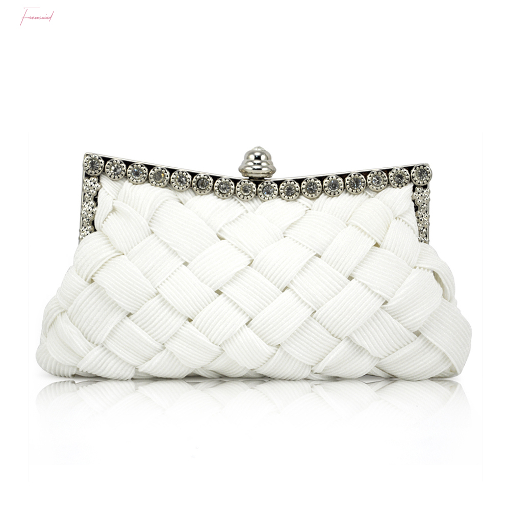 Fine Fashion Women Evening Bag Cocktail Party Solid Ruched Party Satin Bag Chain Single Shoulder Bag